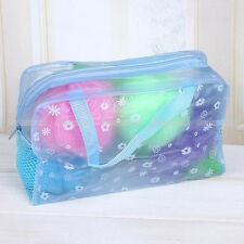 Ladies Clear Floral Wash Bag Toiletry Makeup Organizer Cosmetic Pouch Handbag