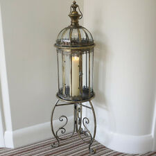 Antique French shabby Lantern Candle Holder Free Standing Vintage Bronze Lamp