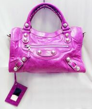 NEW BALENCIAGA CITY AMETHYST LAMBSKIN LEATHER SILVER GH SHOULDER HANDBAG SATCHEL