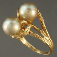 Retro Modernist, Solid Yellow Gold & Gray Pearl, Vine Motif, Split Shank Ring