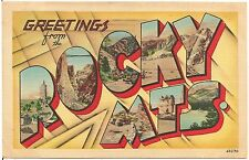 Greetings From The Rocky Mountains CO Large Letter Linen Postcard 1948
