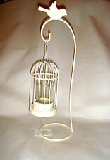 New Cream Ivory Metal Bird Cage & Stand Shabby Chic Tea Light Candle Holder Gift