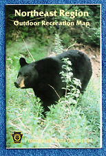 """Pa Penna Game Commission 22"""" x 36"""" Northeast Region 1992 Outdoor Recreation Map"""