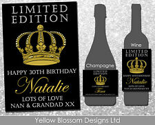 Personalised Wine Champagne Bottle Label Birthday Christmas Limited Crown Royal