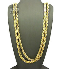"""HIP HOP 6mm 30"""" ROPE CHAIN & 6mm 30 MIAMI CUBAN CHAIN NECKLACE CHAIN SET $RC1748"""
