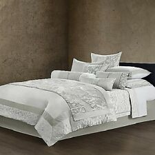 Natori Madame Ning Silver Silk Cotton Blend Queen Duvet Cover   NIP