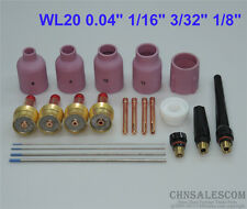 "21 pcs TIG Torch Large Gas Lens WP-17/18/26 WL20 Tungsten 0.04"" 1/16"" 3/32"" 1/8"""