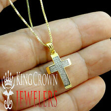Mens Womens Yellow Gold Finish Genuine Diamond Puff Cross 0.25 Ct Chain Necklace