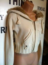 RIVER ISLAND Cream Knit Zip Up Faux Fur Lined Hooded Cardigan Jacket Size 14 (s)