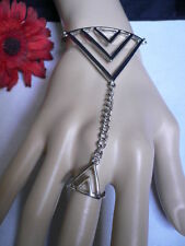 NEW LADY WOMEN SILVER METAL RETRO CUFF SLAVE BRACELET CHAINS TRIANGLE RING GAGA