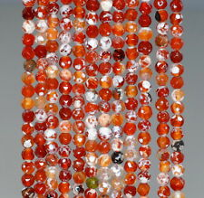 """4MM  AGATE GEMSTONE ICE RED FACETED ROUND LOOSE BEADS 15"""""""