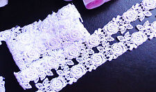 Venise Lace Galloon, 1 inch wide white roses selling by the yard