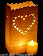 10 White Hearts Paper Bag Lanterns + 10 Battery LED Tea lights Candle Combo Pack