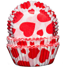 White with Red Hearts Cupcake Cases x60 Baking Muffin