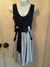 Beautiful Olian Maternity Lillian Navy & White Striped Dress Size M