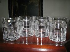 "Set of (4) RALPH LAUREN ""Glen Plaid"" Crystal Rocks/ Whiskey Glasses"