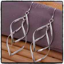 925 Sterling Silver Double Twist Leaf Plantain Drop Dangle Hook Earrings Gift