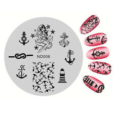 Nail Art Stamping Image Plates Stencil Manicure Stamp Template Anchor Theme DIY