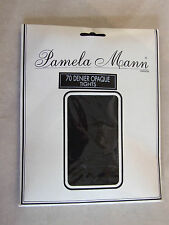 Pamela Mann Made In England BNIP M Black 70 Denier Opaque Pantyhose / Tights