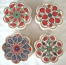 "IZNIK KUTAHYA TURKISH CERAMIC TILE TRIVIT HAND PAINTED IN TURKEY 3 15/16"" SET"