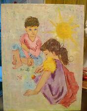 VTG Orig Oil Painting GIRL PLAYING JACKS Painterly Impasto Children Games Naive?
