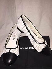 Authentic Chanel CC Logo Black Leather/White Lace Ballet Flats Shoe Toe Cap 36