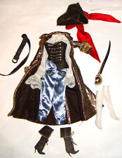 Barbie Ensemble Brocade Buccaneer Coat/Hat/Boots For Model Muse Barbie Dolls hf0