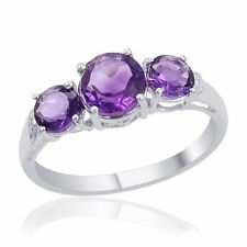 NWT RING 3 Stone Amethyst Ring 925 Nickle Free Sterling Silver Sz 8 TGW 2.20 cts