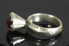 Afghan Kuchee Tribal Antique Sterling Silver Ring. Red Glass. size US 8