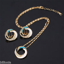 18ct Gold Plated Swarovski Elements Crystal Jewellery Set Necklace Round Earring