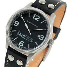 Aristo Messerschmitt Swiss Quartz Pilot Watch, 40mm Case, Coin Edge #ME109-41S