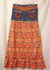 Heatherette Denim Mini To Maxi Upcycled Skirt Size 5 Western Horseshoe Modest