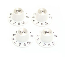 (4) White/Silver Witch Hat Knobs for USA Gibson® Guitar/Bass fits 6mm CTS Pots