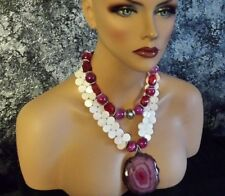 Red Pink Agate Mother of Pearl Statement Necklace FEMININE Sensual Necklace SEXY