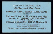 1946 Basketball Association of America (1st year NBA) ticket. Chicago Stags.