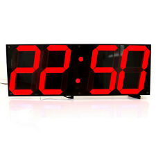 Modern Large Oversize Wall Clock Led Digital Lights Watch 12/24-Hour Display Red