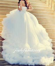 2017 New Bling Beaded Luxuryly Wedding Dress Bridal Ball Gown Custom Size 4 - 26