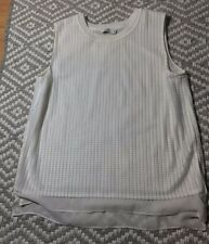 VINCE Size Small White Sleeveless Mesh Overlay Tank Top