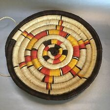 """12"""" Vintage Round Flat Woven Basket Dyed Natural Grasses Wall Hanging"""