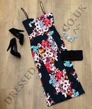 LADIES BLACK FLORAL CAMI BODYCON EVENING MIDI WIGGLE PENCIL PARTY DRESS SIZE 8