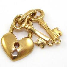 18K Yellow Gold Key To My Heart Love Charm Pendant QZ