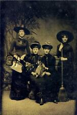 VINTAGE WITCH WICCA COSTUME OWL TAXIDERMY HALLOWEEN SEPIA PHOTO CANVAS PRINT BIG