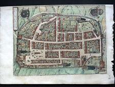 PLAN DE LA VILLE DE CHATEAUDUN - EURE ET LOIR - REHAUSSEE D'AQUARELLE - 1572