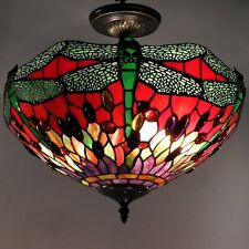 Ceiling Light Fixture Tiffany Style Stained Glass Shade Dragonfly Hanging Lamp