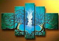 Tree Of Life 5PC Abstract Hand Painted Oil Painting Canvas Wall Decor Art Blue