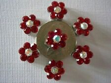 2 Hole Slider Beads Daisy Red & AB Austrian Crystal #7