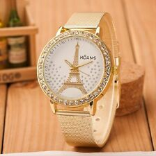 Ladies Crystal Paris Eiffel Tower Gold Stainless Steel Mesh Band Wrist Watch