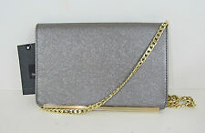 NWT Mossimo Women's Metallic Silver Envelope Clutch/Crossbody Bag, Chain Strap