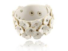White Daisy Flower Cuts Crystal Rhinestone Stud Leather Wrist Cuff B& Bracelet