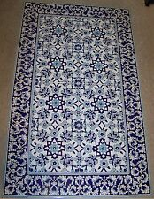 "Defective Blue 24""x40"" Turkish Iznik Floral Pattern Ceramic Tile Mural Panel"